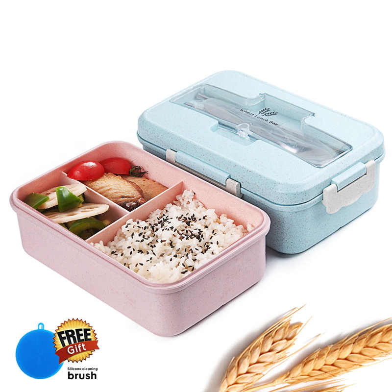 Bento lunch box for kids with spoon chopsticks food container Leak Proof BPA Free Wheat Straw Dinnerware Set ecofriendly Foodbox