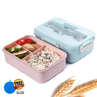 Bento Lunch Box Wheat Straw Meal Prep Containers For Food Storage For Kids Microwavable Camping Supplies BPA FREE Japanese Style|Lunch Boxes| |  -
