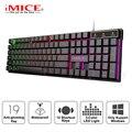 Игровая клавиатура Проводная игровая клавиатура с RGB подсветкой 104 резиновые брелки русская эргономичная USB клавиатура для ПК ноутбука