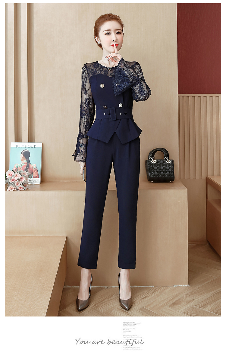 Blue Lace Office Two Piece Sets Outfits Women Plus Size Flare Sleeve Tops And Pants Suits Elegant Ladies Ol Style Korean Sets 40