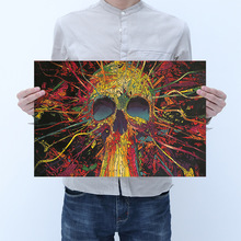 Room decoration colorful skull kraft paper poster wall sticker bar decoration painting household items