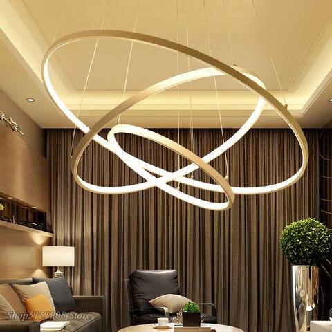 moderno led pingente luzes para sala de jantar branco ouro preto circulo aneis corpo aluminio