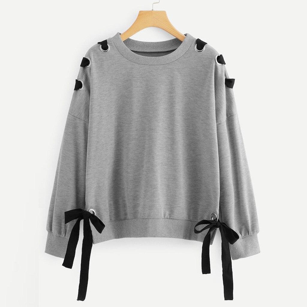 Женские пуловеры в стиле Лолиты с бантом-бабочкой, милые свитшоты с длинным рукавом, Осенние топы для девочек-подростков, повседневные милые пуловеры с заниженным плечом