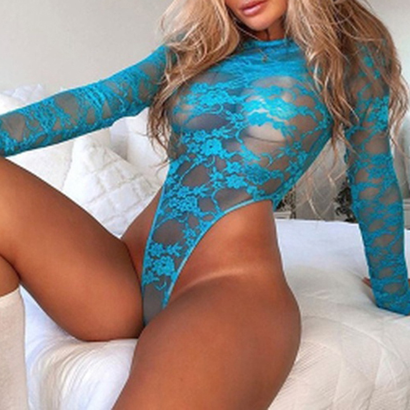 Sexy Ladies Underwear Set Perspective Hollow Lace Bodysuit Lingerie Long Sleeve Thong Sexy Female Bodysuit