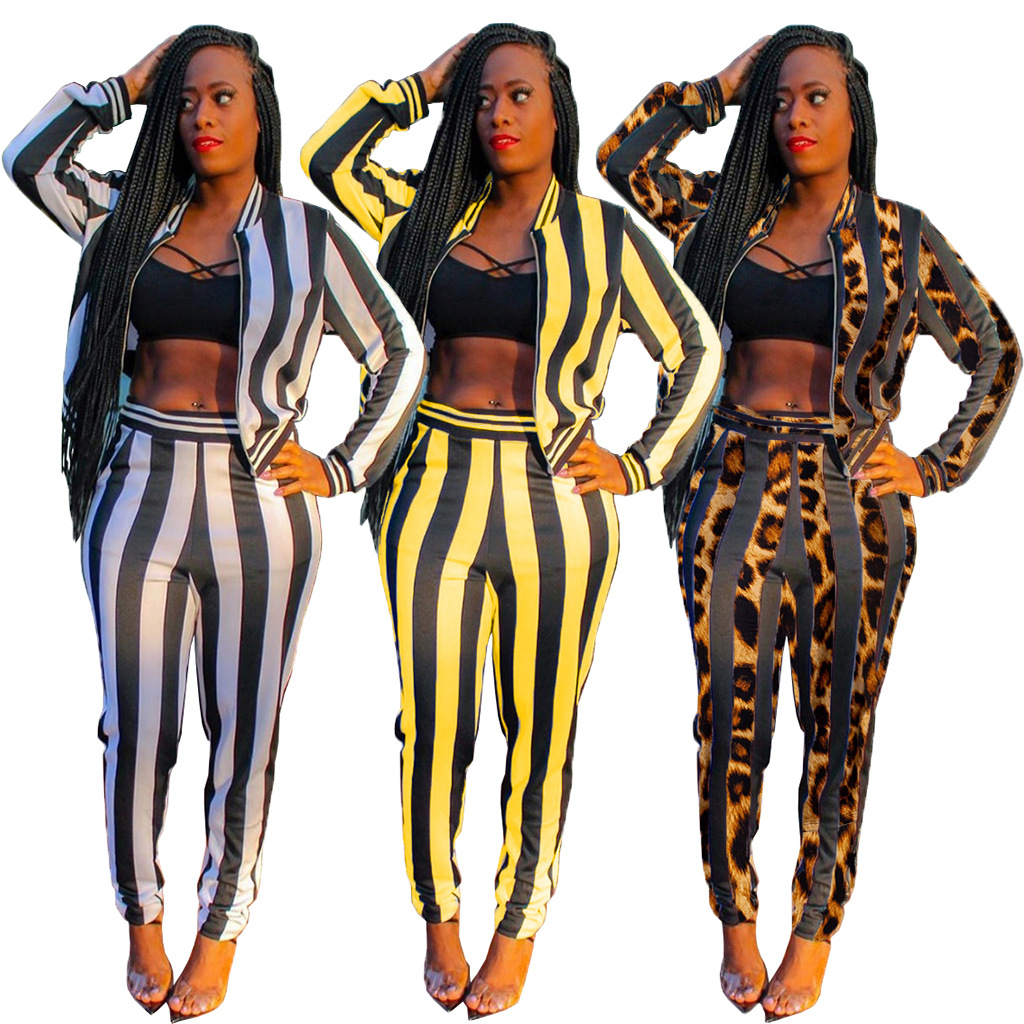 Autumn Winter Women's Set Striped Print Tracksuit Full Sleeve Jackets Pants Suit Two Piece Set Outfits Sportwear Casual  M219