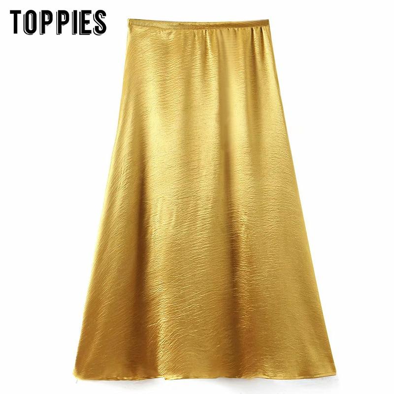 2020 Yellow Midi Skirts Womens A-line Skirts High Waist Faldas Metallic Color Elegant Streetwear