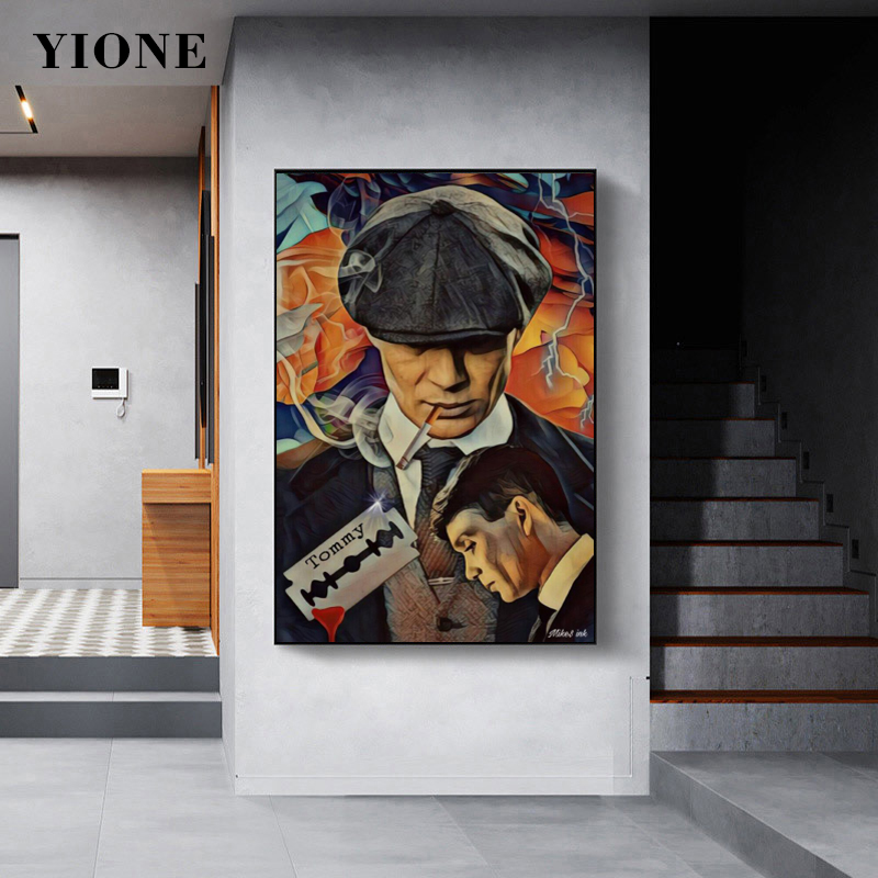Classic Movie Peaky Blinders Poster Abstract Figure Smoking Man Canvas Prints Wall Art Painting Picture for Bedroom Home Decor
