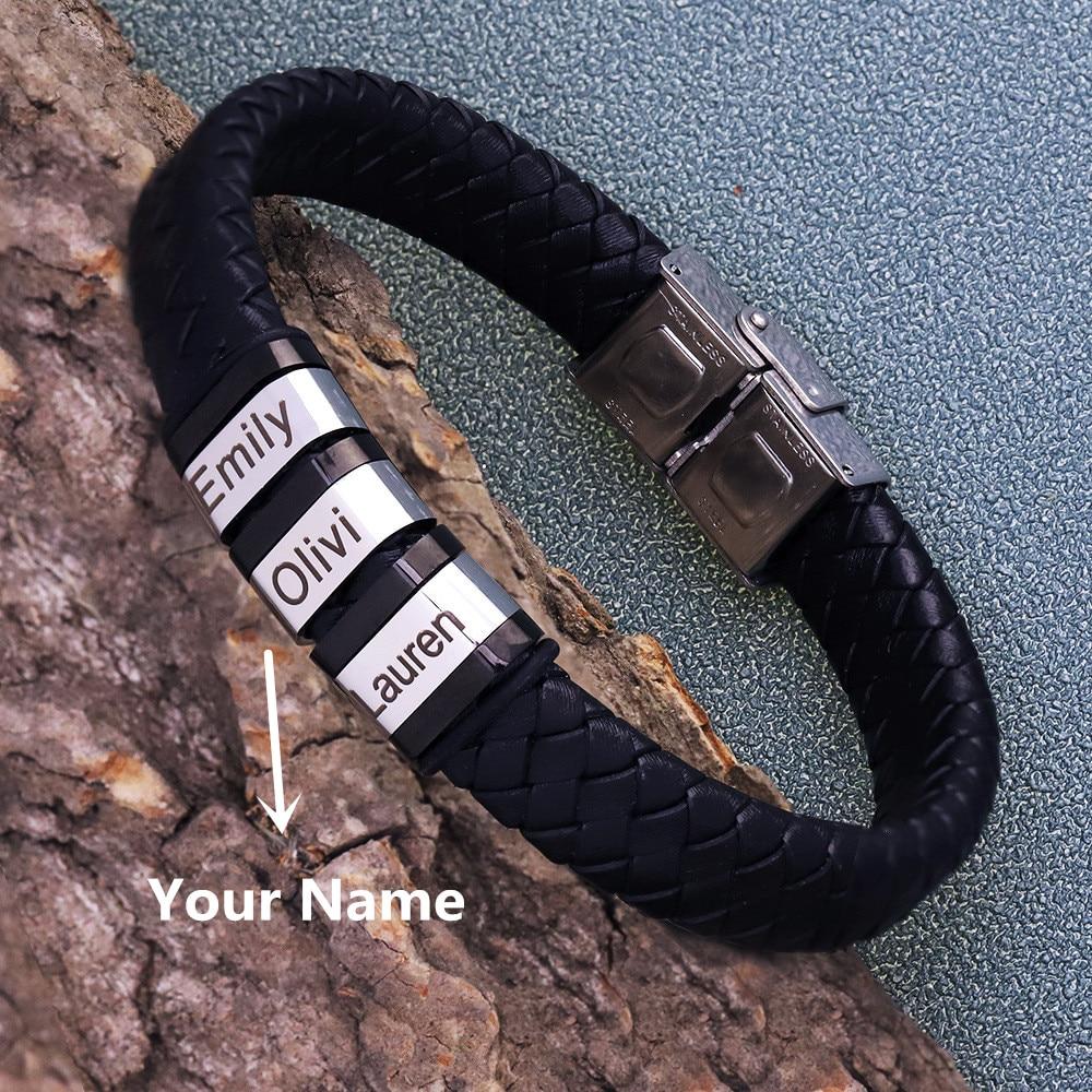 Personalisierte Herren Name Lederarmband schwarz gewebt   sportshop3000