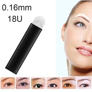 Image 3 - Laminas Tebori Nano 0,16mm 18 forma de U Nano aguja o cuchilla para Microblading Tattoo Needles para maquillaje permanente lápiz de cejas Agulhas