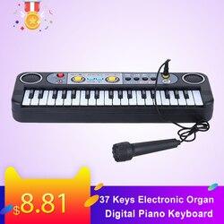 37 teclas de órgão eletrônico teclado piano digital com microfone crianças brinquedos stave música brinquedo desenvolver talentos da criança