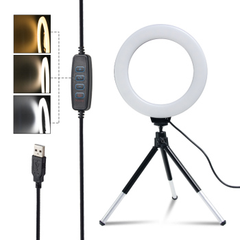 SH 16cm 6 inch Ring Light With Tripod Stand Usb Charge Selfie Led Lamp Dimmable Photography Light For Photo Photography Studio 1