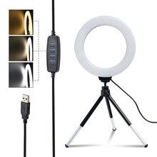 SH 16 см (6 дюймов) кольцевой светильник с штатив-Трипод стойка Usb зарядка селфи Светодиодная лампа с регулируемой яркостью фотографии светиль...