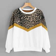 Fashion Leopard Sweatshirt Hoody Womens Casual Long Sleeve Patchwork Print O-Neck Female Tops Hoodies #C9