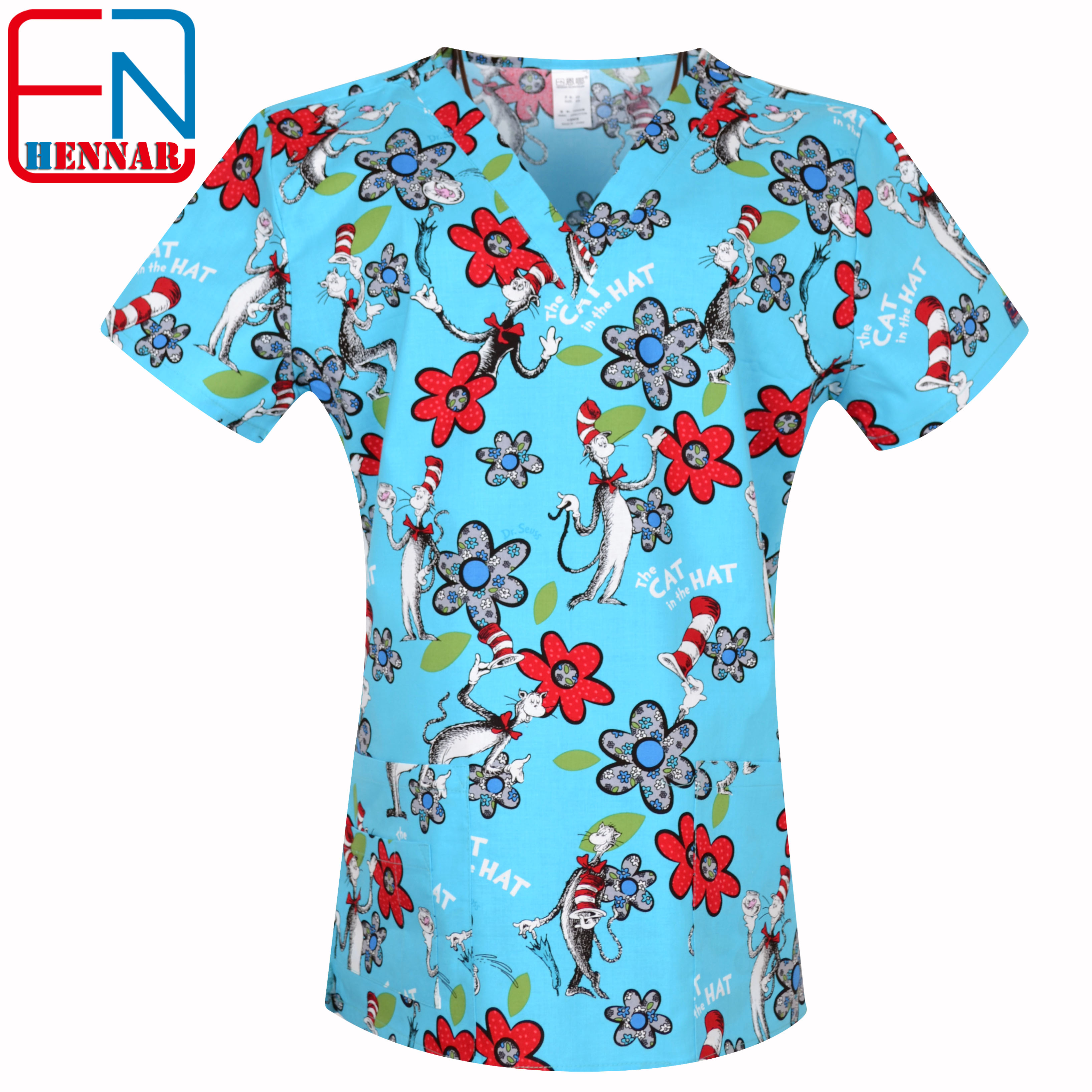 Image 3 - Hennar Women medical scrub tops in 100% cotton scrubs,women scrub tops,women medical uniforms-in Scrub Tops & Bottoms from Novelty & Special Use