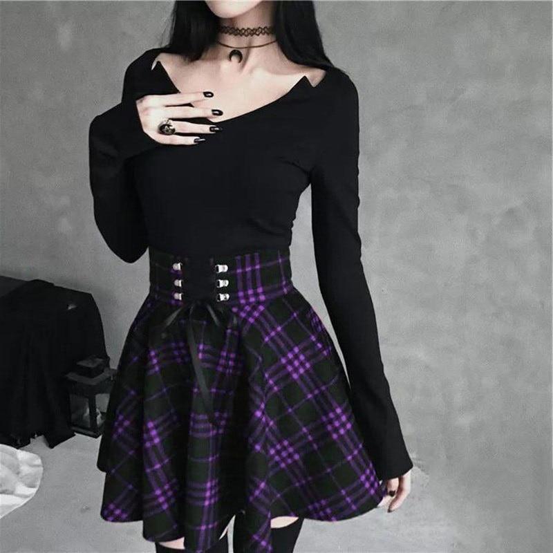 Women Scottish Plaid School Uniform Pleated Skirt 2019 New Punk Gothic Skirts Girl High Waist Pleated Mini Skirts Female