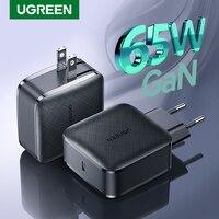 UGREEN-cargador rápido GaN PD65W, USB C, Cargador rápido 4,0 3,0 PD para iPhone Notebook QC4.0 3,0 tipo C, cargador de teléfono móvil