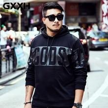 GXXH Мужской пуловер с капюшоном, Модный хлопковый Свободный Повседневный свитер с буквенным принтом, уличная одежда в стиле хип-хоп с круглым вырезом, черная толстовка с капюшоном на осень