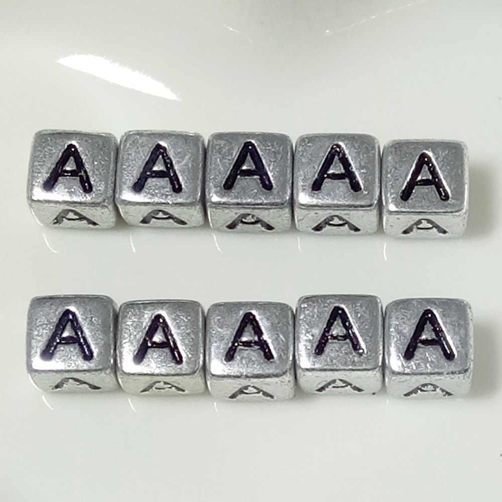 10 unidades/pacote 6mm espaçador acrílico prata/ouro letra grânulo quadrado contas do alfabeto para fazer jóias diy artesanal acessórios