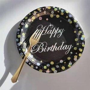 С 18-летним днем рождения одноразовая декоративная столовая посуда 18 лет блестящая бумажная тарелка Салфетка скатерть 18 день рождения вечер...
