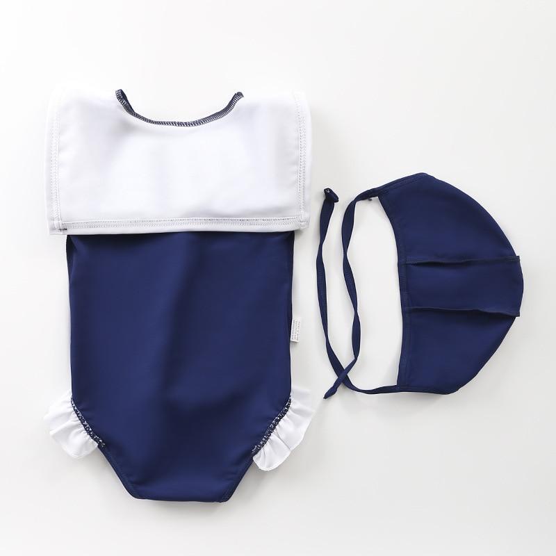 KID'S Swimwear Women's One-piece New Style Infant Baby Girls GIRL'S Princess Hot Springs Swimwear Navy Style Girls Swimwear