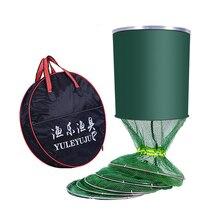 5 레이어 Collapsible 낚시 그물 네트워크 접는 나일론 메쉬 물고기 케이지 트랩 스테인레스 스틸 더블 루프 물고기 액세서리 가방