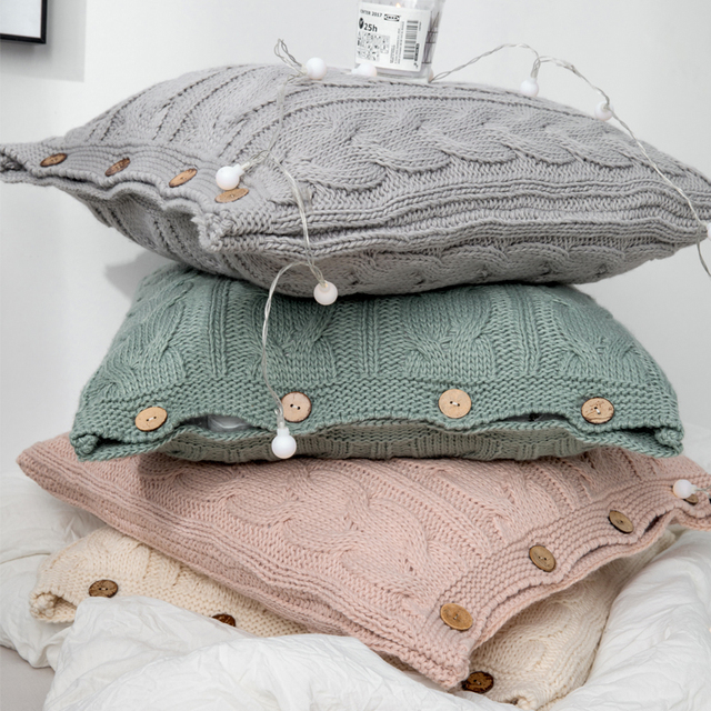 Cream Nordic Knitted Cushion Covers 1