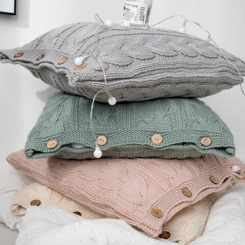 Cable Knit Button Pillow Cover