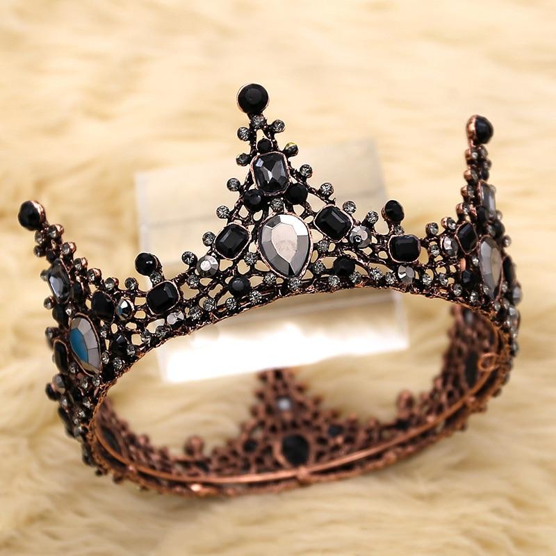 Женские Свадебные короны Стразы в стиле барокко, черные короны невесты, свадебные аксессуары для волос, блестящие очаровательные королевск...
