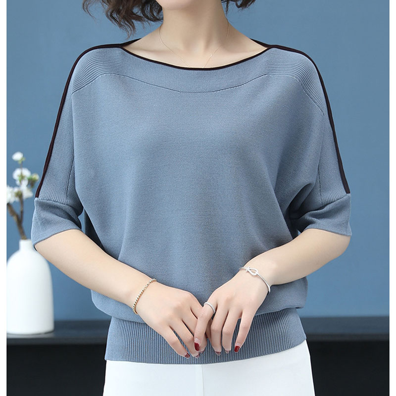 Loose Autumn Half Sleeve Female Pullover Sweater Casual Blue Tops Women Plus Size Knitted Korea Sweaters Ladies Thin Pull Top