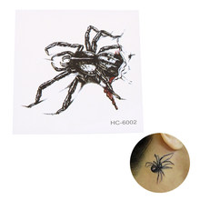 3d waterproof temporary tattoo stickers Black Spider designs Temporary Tatoo fake 1sheet small neck tattoos Body(China)