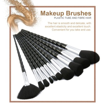 10 pcs Unicorn Thread Makeup Brushes Professional Make Up Fiber Brush Set Makeup Tools Eyebrow Eyeliner Powder Brushes dfdf