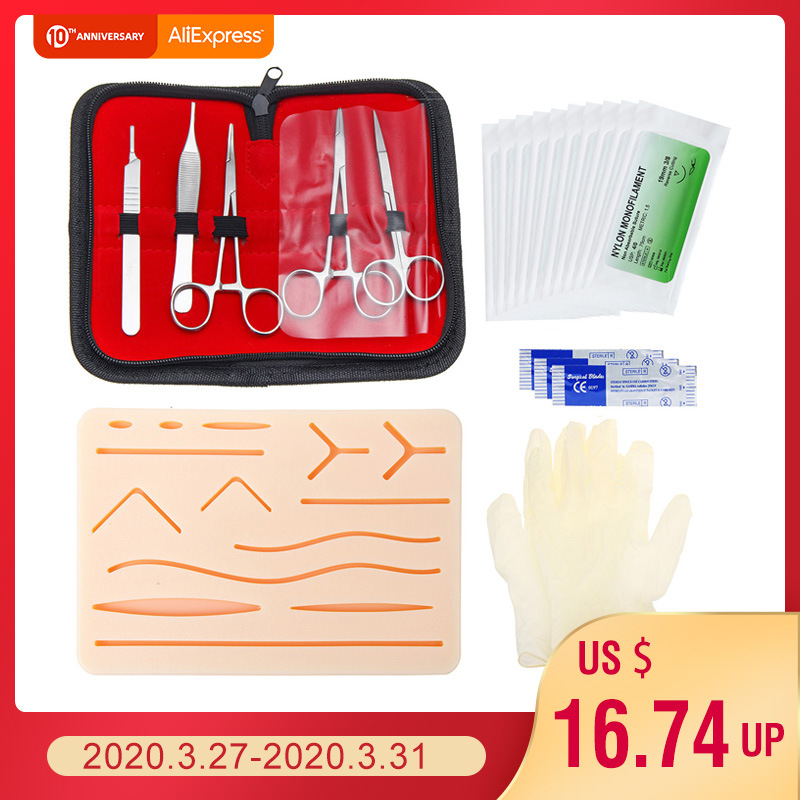 25pcs Surgical Suture Training Kit Skin Operate Suture Practice Model Training Pad Needle Scissors Tool Kit Medical Teaching