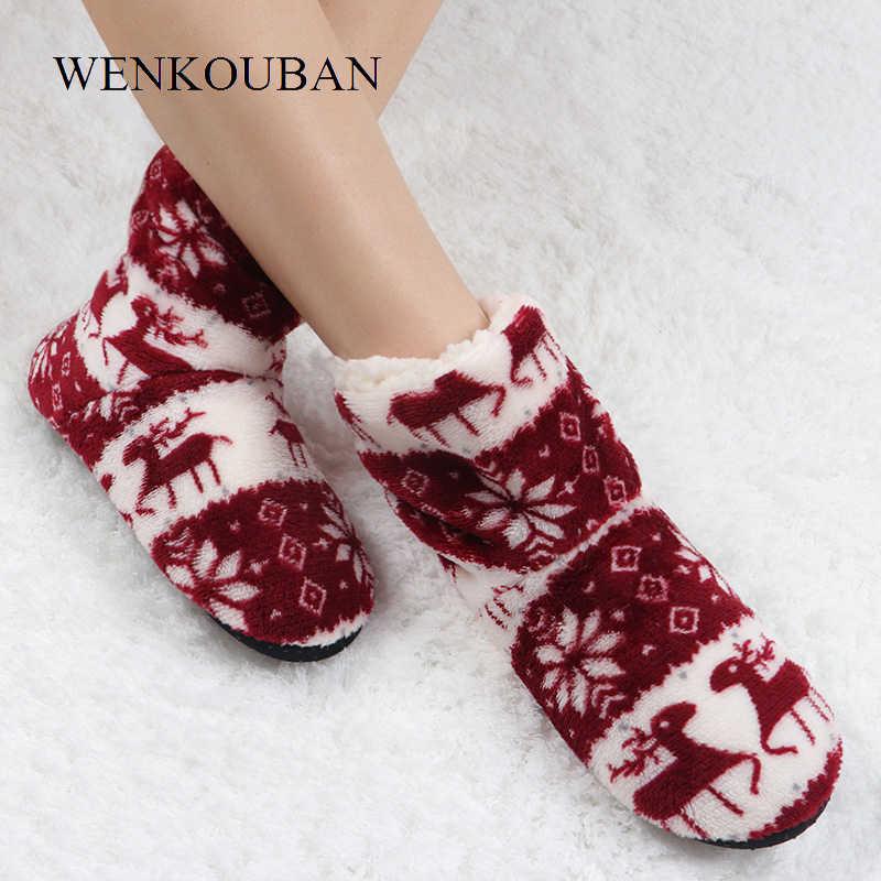 Yarım çizmeler Kadın Kış Ev Botları Bayanlar Noel Sıcak Kapalı Çorap Ayakkabı Rahat Yumuşak Kürk Elk Pamuk Bootie Feminina 2019