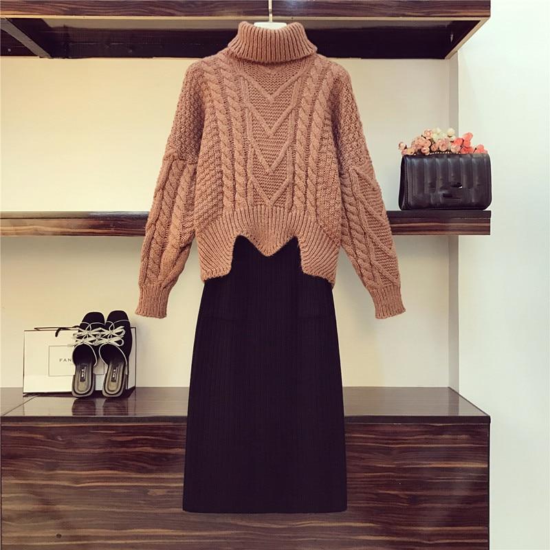 New Autumn Winter Turtleneck Warm Thick Loose Knitting Lazy Sweater Two Piece Set And Black Pocket Split Bodycon Midi Skirt Set