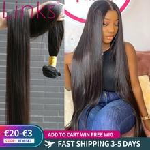 Links-extensiones de pelo ondulado brasileño, 1/3/4 mechones rectos, Color Natural, 28, 30, 32, 34, 40 pulgadas, extensiones de cabello Remy