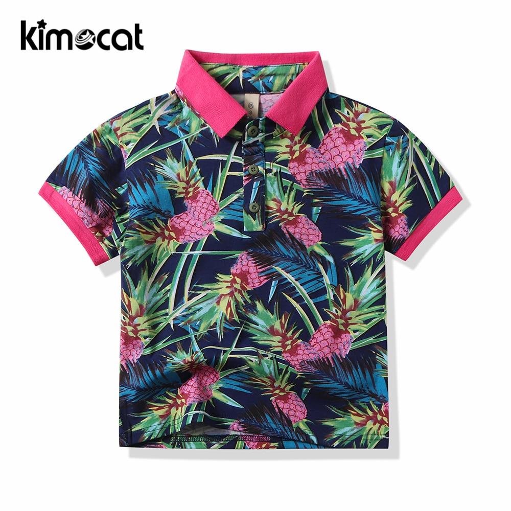 Kimocat Bbay Boy Clothes Summer Short Sleeve T-Shirt Kids Polo Shirts Children Cotton Kids Brand Polo Clothes Out Polo Shirt