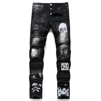 Men'S Pants Streetwear Fashion Trousers Jeans Skull Black Denim Biker High Quality Male Casual Designer Ripped Comfortable