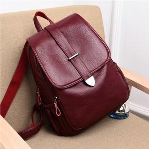 Image 3 - 2019 Women Leather Backpacks Female Travel Shoulder Bags Sac a Dos Femme Large Capacity Travel Backpack Fashion Ladies Back Pack