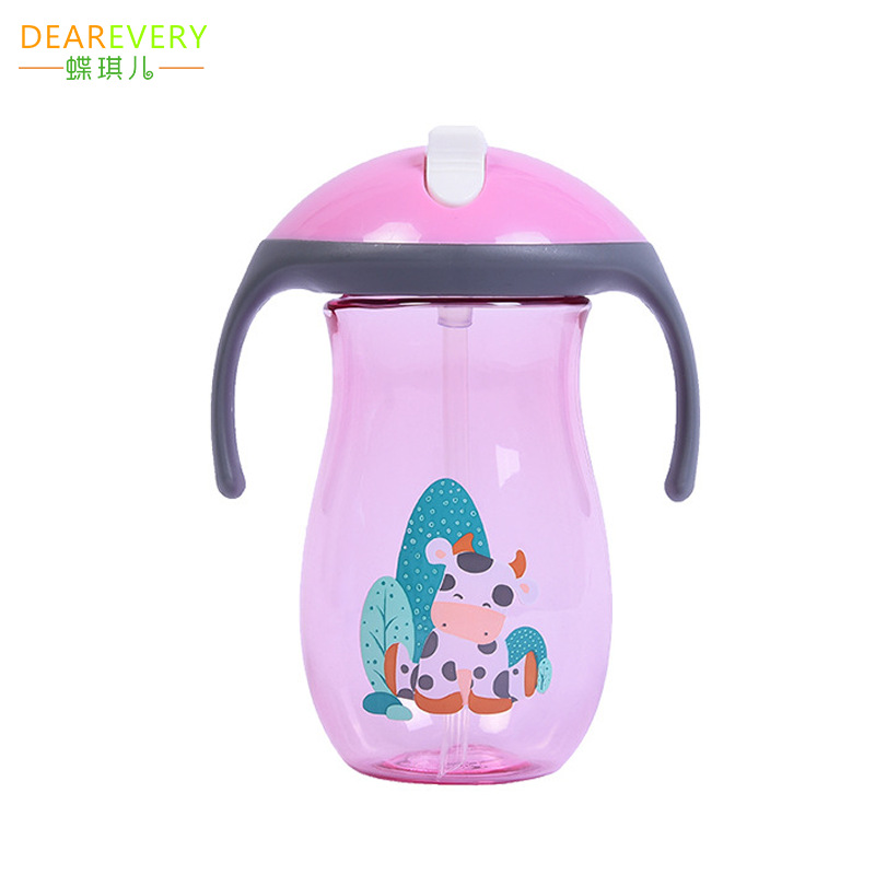 Creative Mushroom Head Closed Slider Children Sippy Cup Baby Cup With Straw Glass Mom And Baby