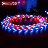 1M LED Luminous Charging Cable For Huawei P30 P20 Pro Xiaomi Mi8 Max 3 HTC Micro USB Type C Mobile Phone Charger Flowing Cabel
