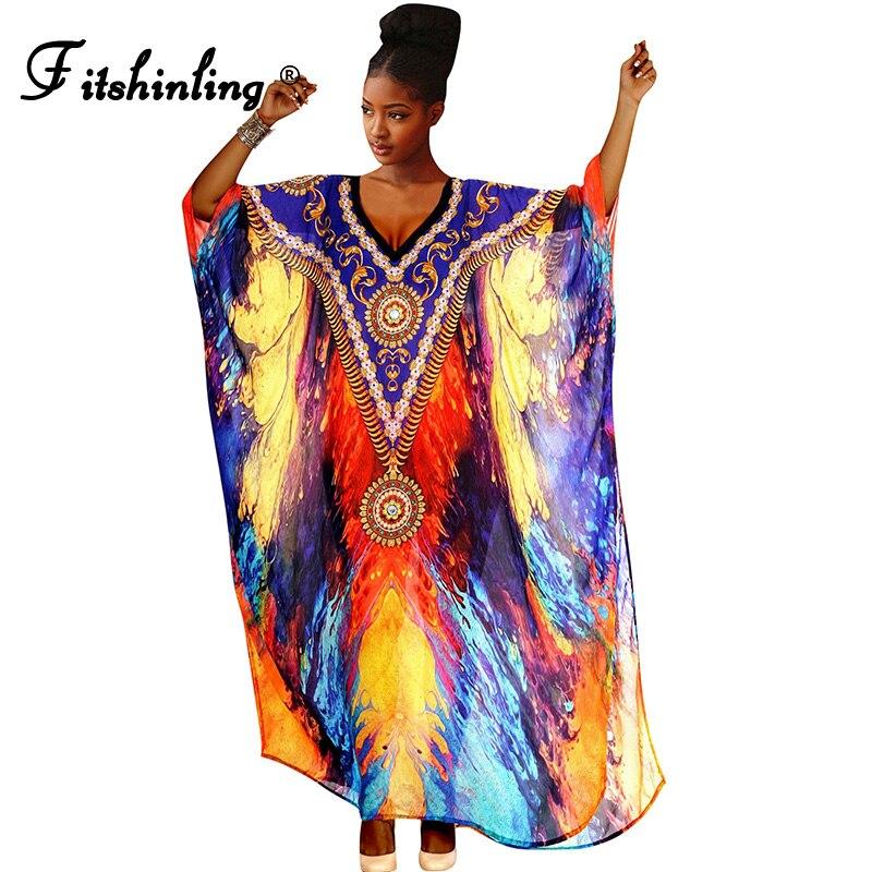 Fitshinling-Vestido largo de gran tamaño para mujer, Túnica de playa, estampado Multicolor, bohemio, étnico, Tribe, caftán recto suelto para vacaciones, novedad de 2021