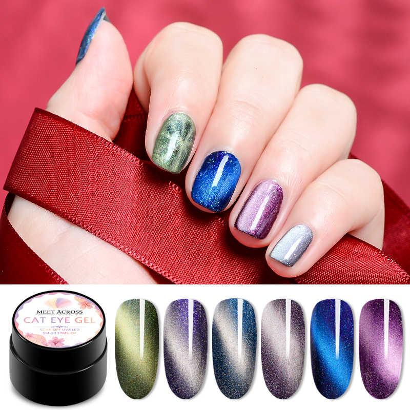 Magnetic 5D Cat Eye UV Gel Nail Polish Magnet Laser Nail Art Pernis Langit Berbintang Jade Efek Rendam Off UV gel Nail Art Lacquer