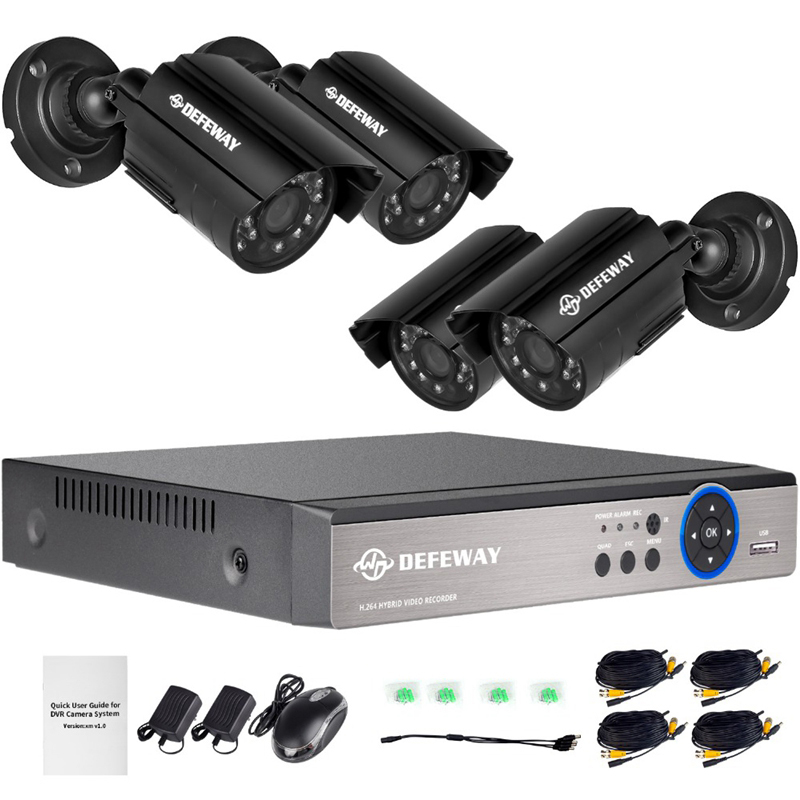 DEFEWAY 1080N DVR 1200TVL 720P HD Outdoor Home Security Camera System 4CH CCTV Video Surveillance DVR Kit 4Pcs AHD Camera Set