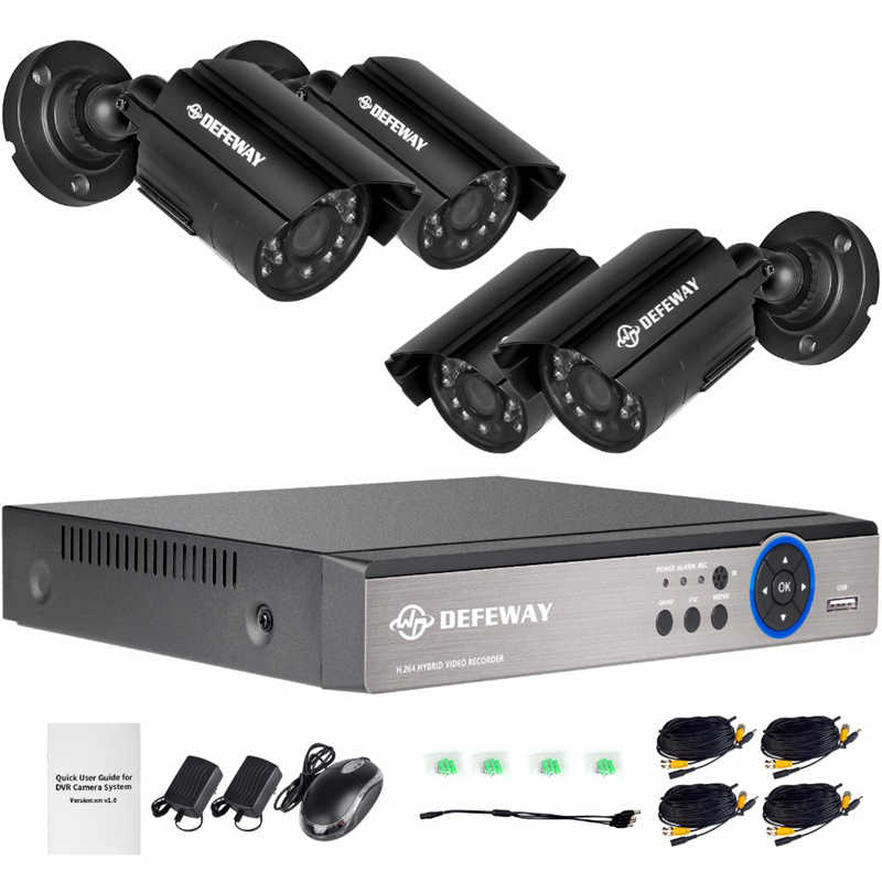 DEFEWAY 1080N DVR 1200TVL 720P HD na świeżym powietrzu System kamer do monitoringu domu 4CH zestaw do monitoringu wideo CCTV DVR 4 sztuk kamera AHD zestaw