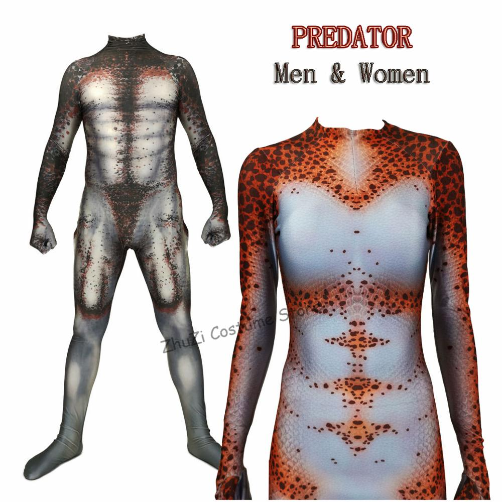 Women Men Boy Predator Cosplay Costumes 3D Printed Pandex Movie The Predator Halloween Zentai Jumpsuit Suit Bodysuits