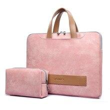 여성 Portafolio 휴대용 서류 가방 라이트 방수 PU 가죽 얇은 노트북 가방 13 13.3 14 15 15.6 인치 맥북 프로 케이스