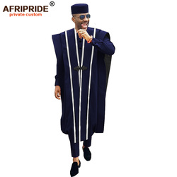 African Men Clothing Agbada Robe Dashiki Shirts Ankara Pants Tribal Hat Wedding Evening Outfits 4 Pieces AFRIPRIDE A1816011