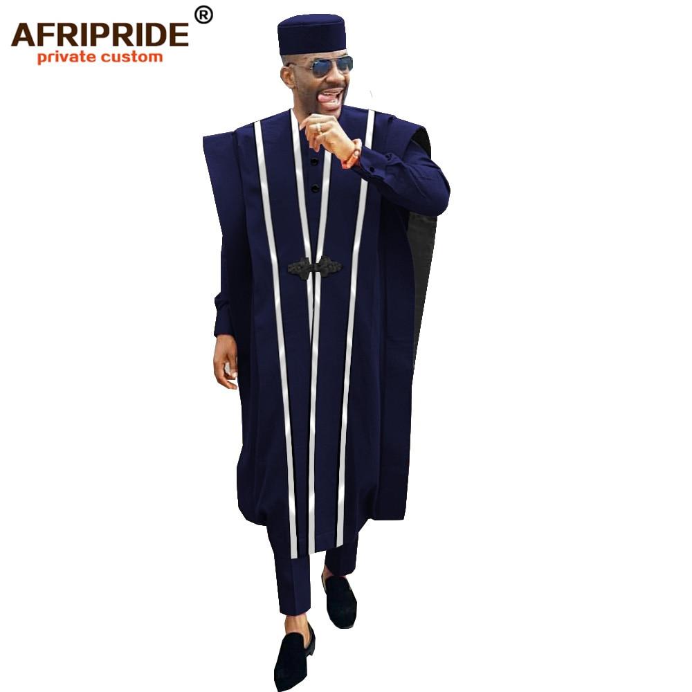 ARTFFEL Mens African Print Cotton Linen 2 Pieces Outfits Long Sleeve Shirt Pants Tracksuits