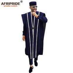 Afrikanische Männer Kleidung Agbada Robe Dashiki Shirts Ankara Hosen Tribal Hut Hochzeit Abend Outfits 4 Stück AFRIPRIDE A1816011