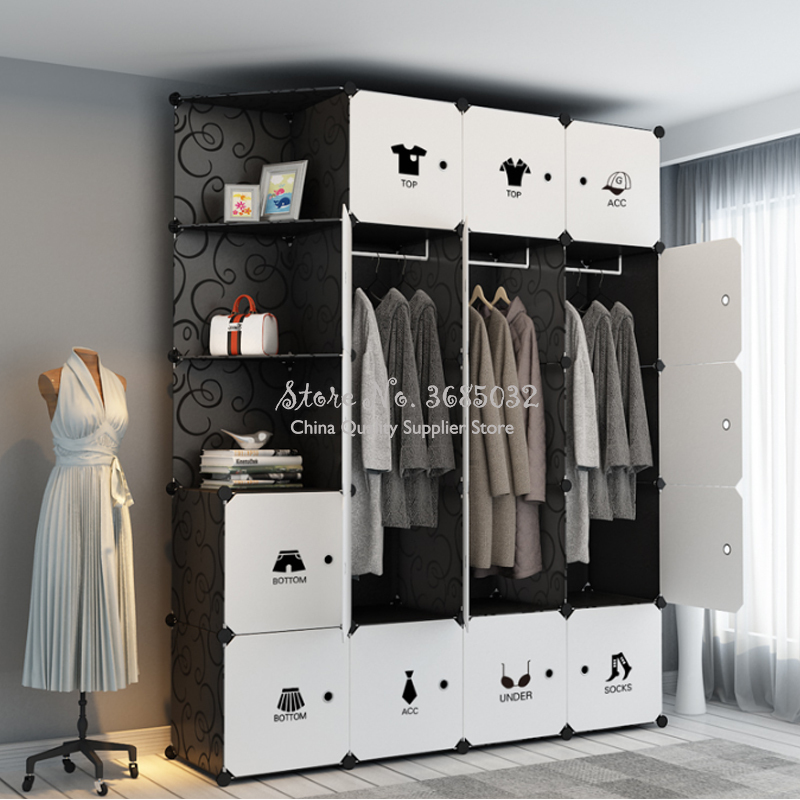 Simple Wardrobe Hanging Imitation Cloth Student Children Small Combination Folding Assembly Plastic DIY Closet Bedroom Furniture